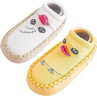 Happy Cherry, 2 Par Calcetines Bebés Niñas Antideslizante de Algodón para Primeros Pasos Medias Antideslizante Niños Bebés Zapatos de Casa Infantil
