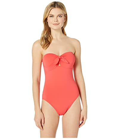 MICHAEL Michael Kors Tie Front Bandeau One-Piece with Removeable Soft Cups Removeable Straps (Sea Coral) Women