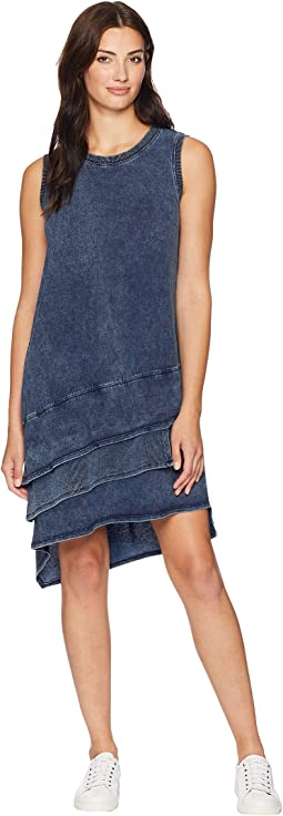 Washed Indigo Knit Ruffle Tank Dress
