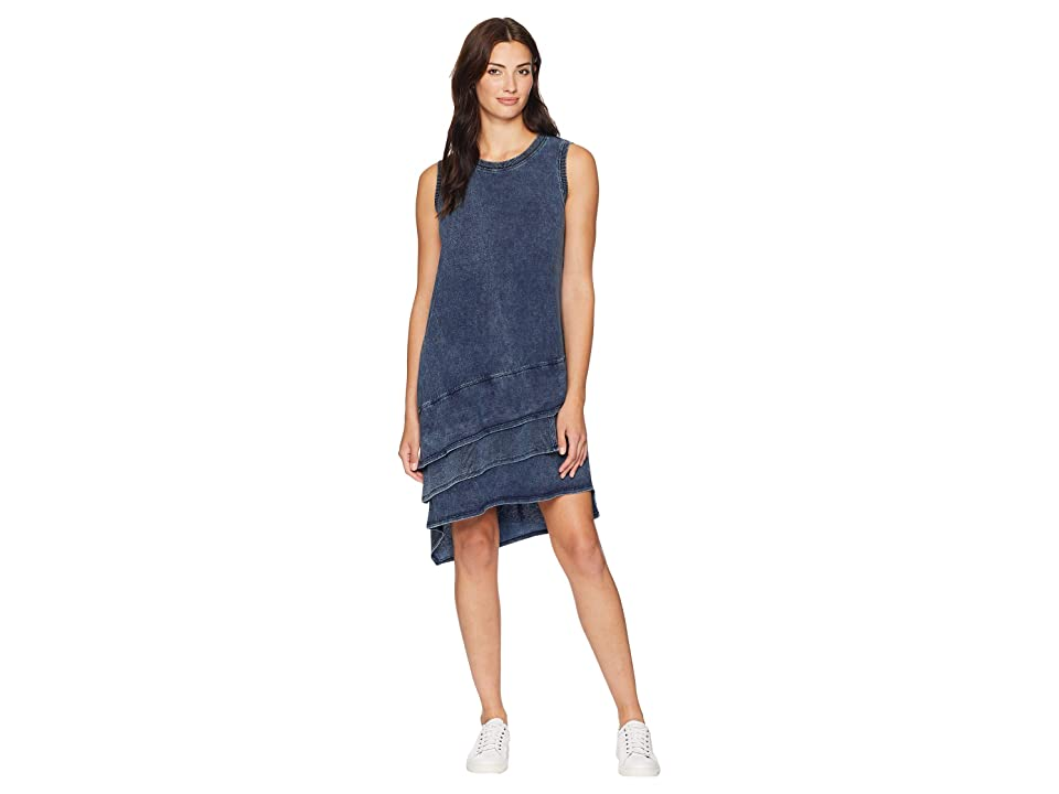 Dylan by True Grit Washed Indigo Knit Ruffle Tank Dress (Indigo) Women