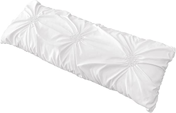 Solid Color White Shabby Chic Body Pillow Case Cover For Harper Collection Pillow Not Included