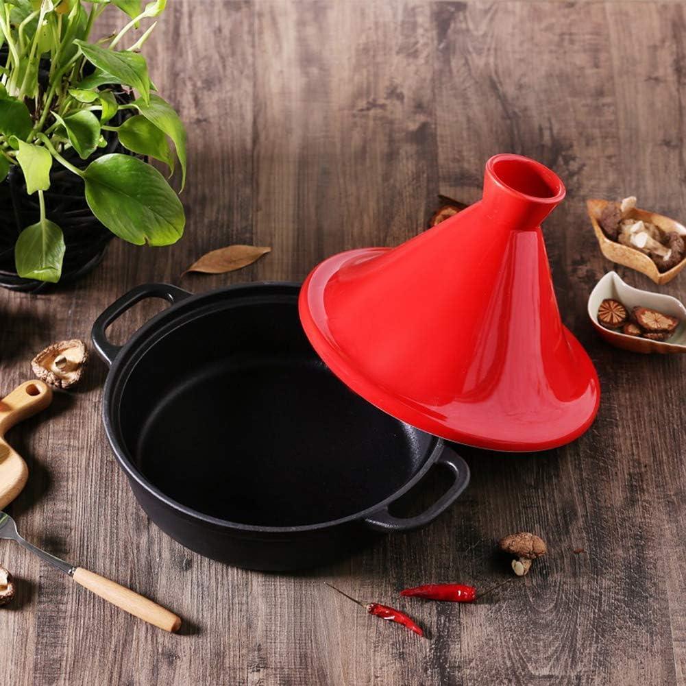 Gflyme Marmite à tajine de 20 cm, marmite en Fonte avec poignée et Couvercle Pots en céramique pour la Cuisson et mijoteuse mijoteuse pour la Cuisine à Domicile, Rose Yellow