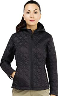 MIER Women's Full Zip Insulated Hooded Jacket Quilted Padding Outwear for Outdoors, Lightweight, Windproof, Black