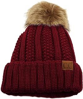 Winter Sherpa Fleeced Lined Chunky Knit Stretch Pom Pom Beanie Hat Cap
