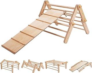 Pikler triangular Mopitri modificable, estructura de escalada, escalador independiente, Pikler triangle / con rampa de des...