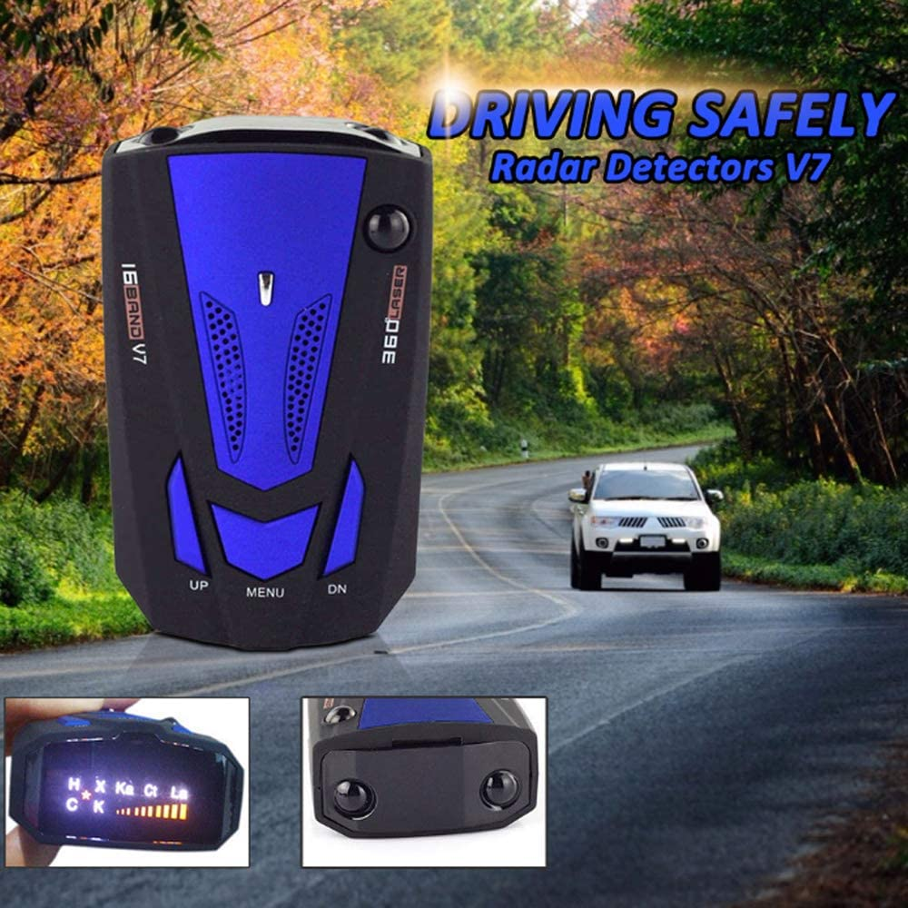 360 Degree Detection Policy Radar Detectors Kit with LED Display Laser Radar Detector for Cars Prompt Speed City//Highway Mode Black