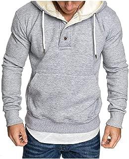 Mogogo Mens Hoode Hoodie Sweatshirts Regular Buttoned Hooded Sweatshirt