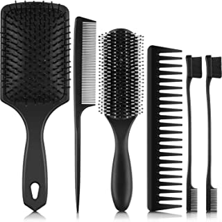 6 Pieces Hair Brush Set Paddle Hair Brush Detangle Hair Brush Black Comb and Eyebrow Brush for Men Women Wet,  Dry,  Curly and Straight Hair
