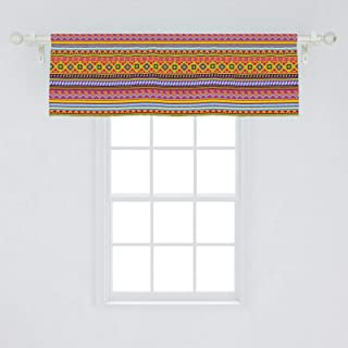Ambesonne Mexican Window Valance, Folkloric Old Vintage Ornament Design with Geometric Shapes and Stripes Colorful, Curtain Valance for Kitchen Bedroom Decor with Rod Pocket, 54