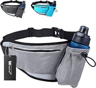Hiking Fanny Packs for Women Men, Fanny Pack with Water Bottle Holder, Running Hydration Belt Bags Reflective Waist Bag for Walking, Travel, Cycling, Climbing Fit iPhone 8 Plus(Black Blue Grey)