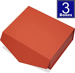 Cohaja Matte Orange Gift Box with Magnetic Lid | 3 Pack | 12 x 9 x 4 Inch | Multiple use | Decorative Gift or Storage Boxes for Groomsmen Proposal, Favors, Weddings, Office and More