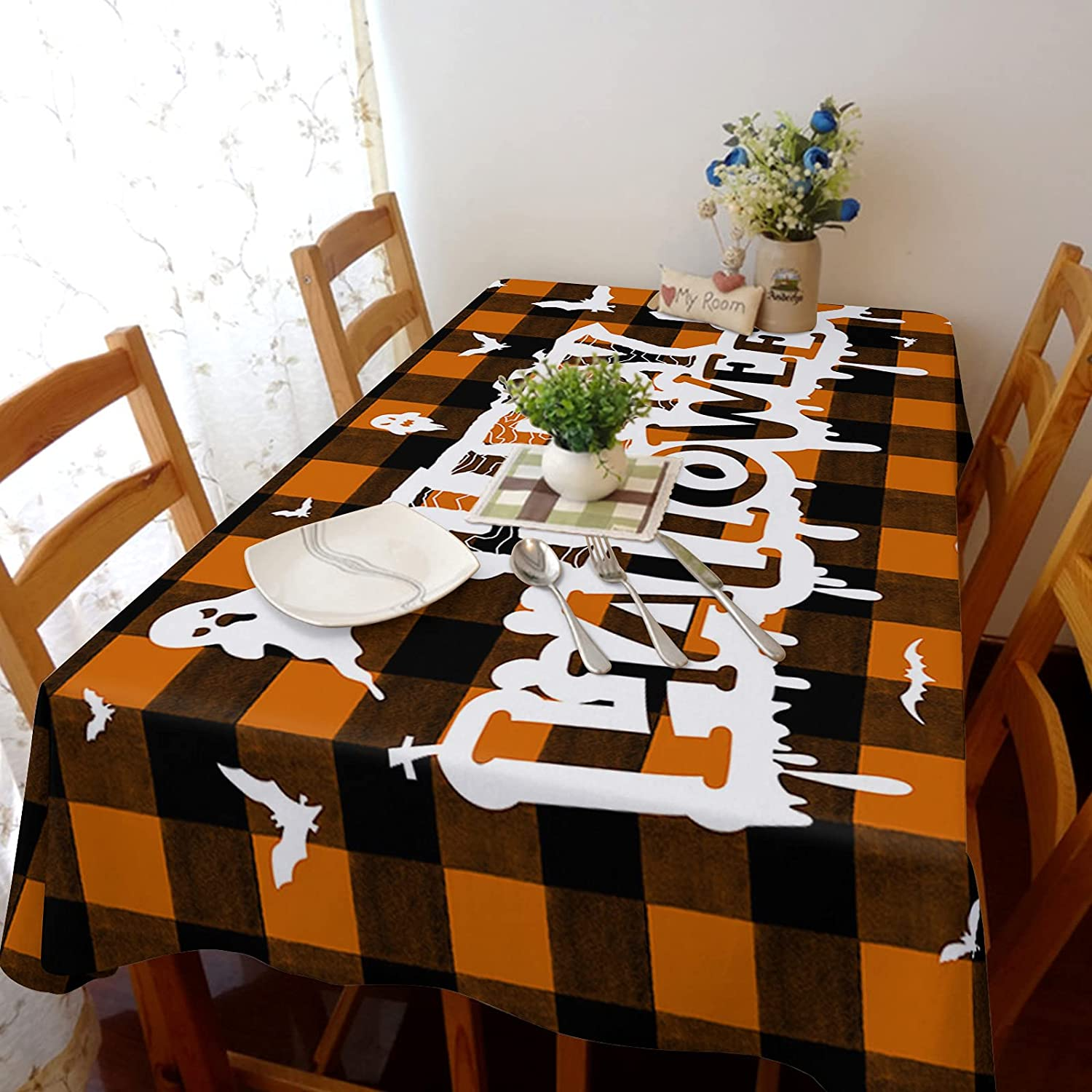 Flouky NEW before selling ☆ 60x162in Stretch Durable Cotton Tablecloth Dust-Pro shipfree Linen