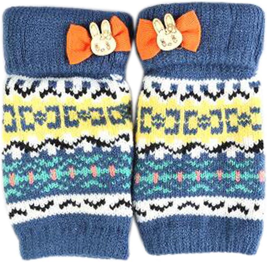Alien Storehouse Lovely Winter Fingerless Knitted Gloves for Women's/Girls, Blue