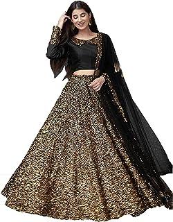 Fast Fashions Women's Velvet Semi-stitched Lehenga Choli (FF-5358_Gold_Free Size)
