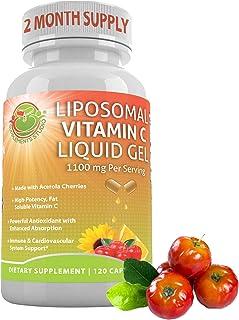 Liposomal Vitamin C Liquid Gel Organic Acerola Cherries & Sunflower Lecithin, Enhanced Absorption & Bioavai...