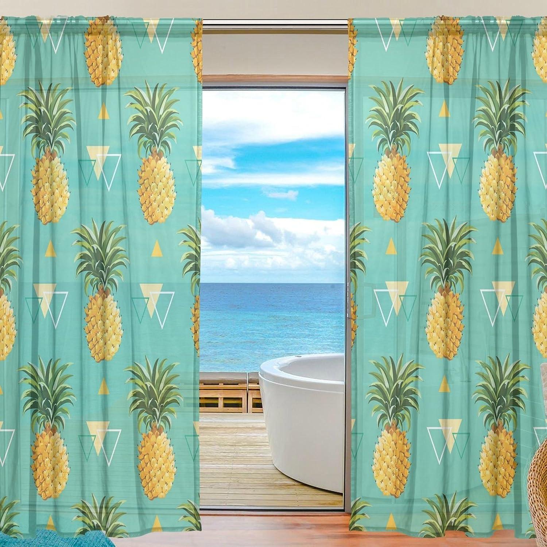 Vantaso Sheer Curtains 78 inch Long Geometric Pineapple for Kids Girls Bedroom Living Room Window Decorative 2 Panels