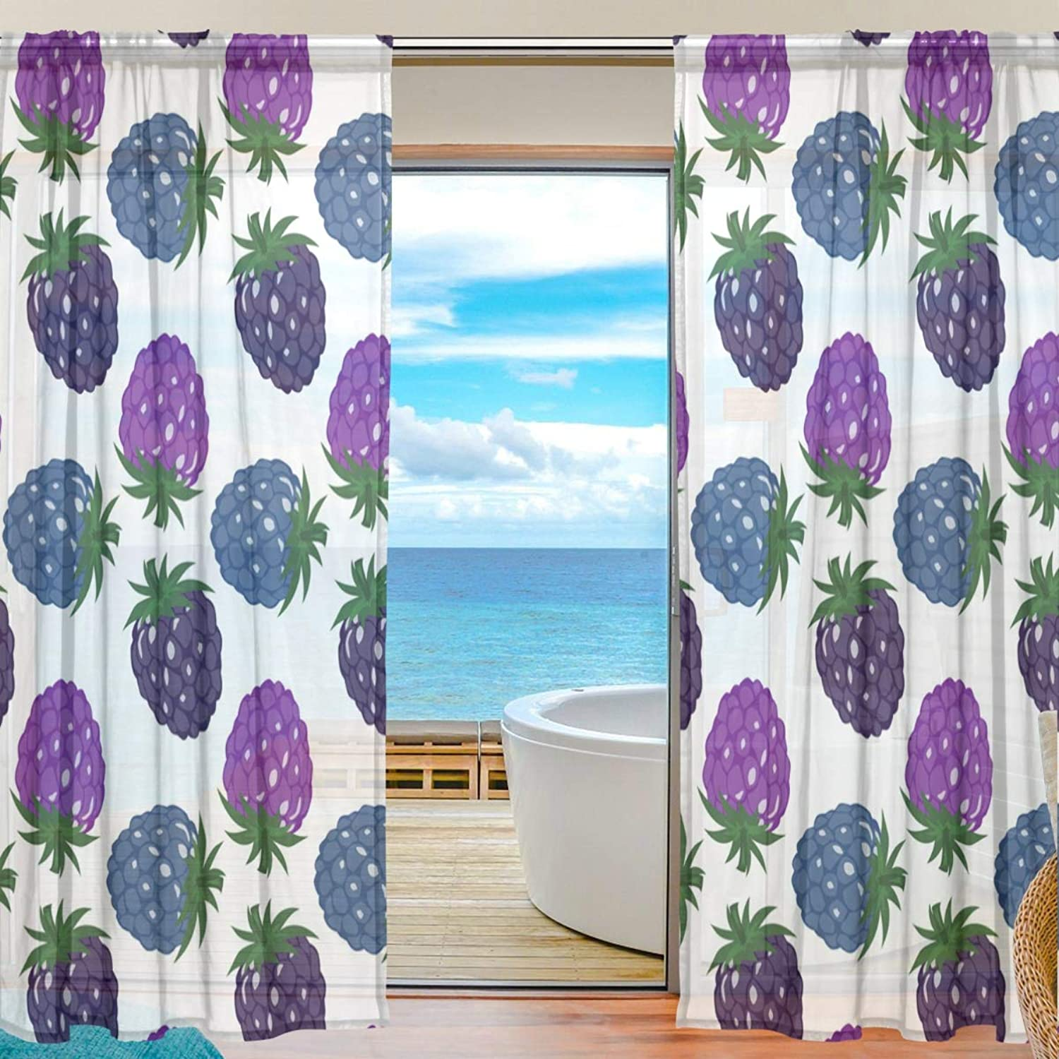 colorful Strawberry 2 Pieces Curtain Panel 55 x 78 inches for Bedroom Living Room