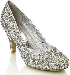ESSEX GLAM Damen Braut Hochzeit Glitzer Klassische Pumps Party Schuhe