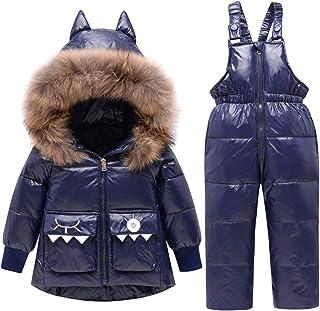 REWANGOING Baby Kids Girls Winter Warm Dinosaur Ears Fur Trim Puffer Down Jacket Snowsuit with Ski Bib Pants Set