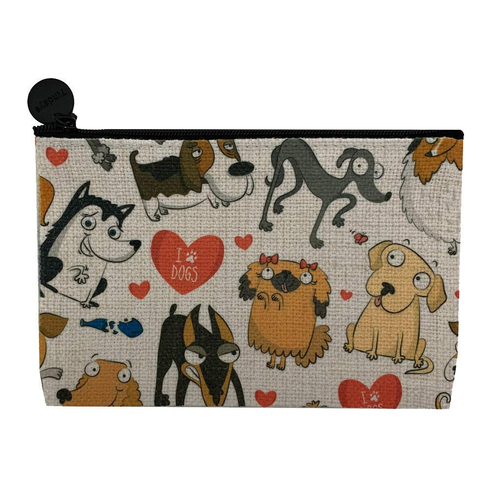 I Love Dogs Linen Small Zippered Max 58% OFF Makeup Bag Coin Free shipping New Cosmetic Purse