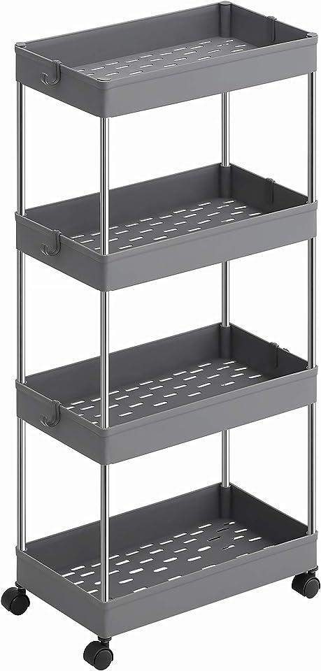 SONGMICS Rollwagen mit 4 Ebenen, Küchenwagen, auf Rollen, platzsparendes Küchenregal und Badregal, für die Küche, das Büro und das Badezimmer, 40 x 22 x 86 cm, grau KSC010G01