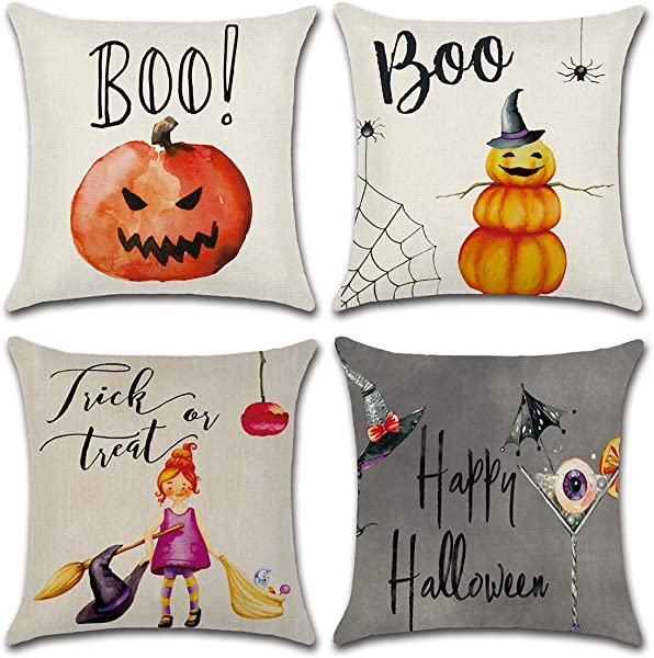 Dreampark Halloween Pillow Covers 18x18 Halloween Decoration Square Cotton Linen Burlap Decorative Throw Pillowslip Cushion Covers With Pumpkin Little Witch Decor Set Of 4