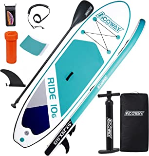 """ACOWAY Inflatable Stand Up Paddle Board, 10'6×32""""×6"""" Paddle Board, SUP Paddleboard Accessories Backpack, Bottom Fin Paddli..."""