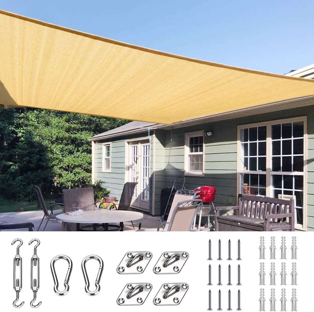 Quictent 26x20 Ft 185G HDPE Manufacturer Kansas City Mall regenerated product Square Canopy Sun 98% Sail UV Shade