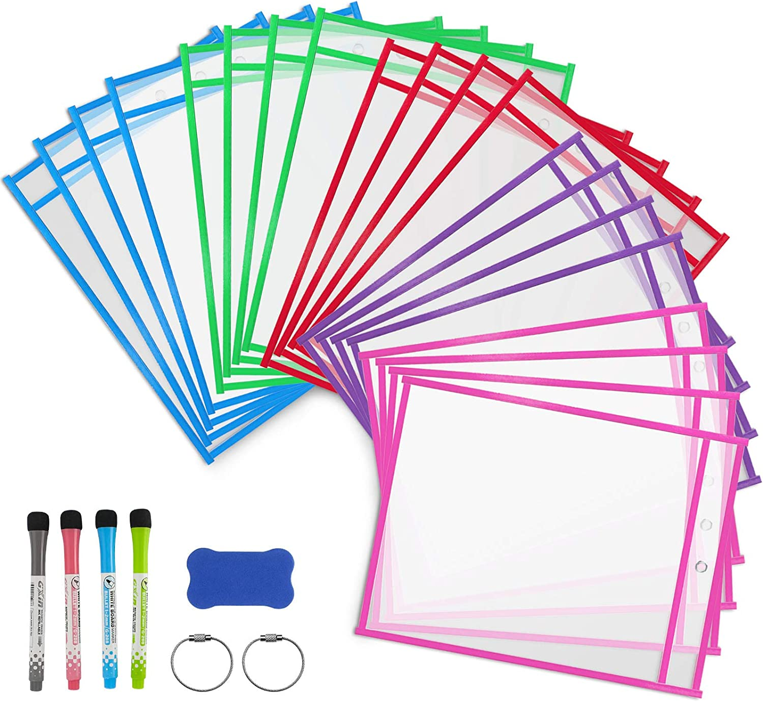 DUOFIRE Dry Erase Pockets Sleeves Reusable Houston Mall 20 She Pack specialty shop