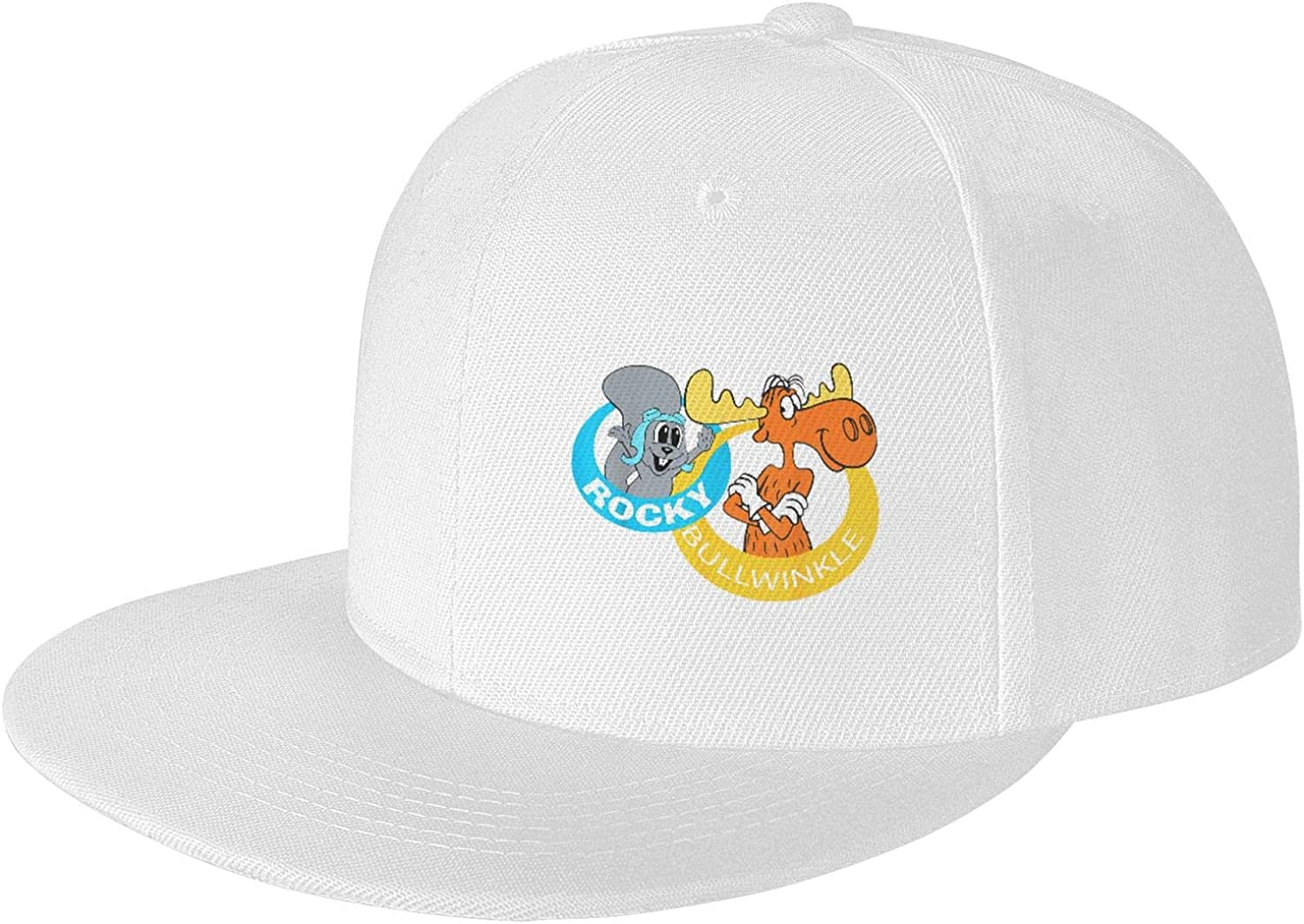 Rocky and Bullwinkle Cowboy Hat for Men and Women Adjustable Unisex Hat Fashion Drawstring Girl with Cute Graphics White