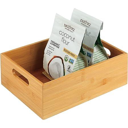 mDesign caisse de rangement pour la cuisine – boite en bois pratique avec poignées – boite en bambou pour rangement d'ustensiles de cuisine – 30,5 cm x 22,9 cm x 10,2 cm – couleur nature