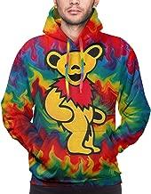 Colorful Fire Tiedye Dance Bear Pattern Pocket Pullover Mens 3D Printed Athletic Fleece Hooded Sweatshirt
