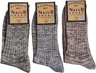 Natur Socks, 6 pares de calcetines vaqueros para hombre, 100% algodón, sin costuras, color natural