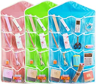 SKYFUN (LABEL) 16 Pockets Clear View Closet Wardrobe Hanging Mobile Pen Holder Shelf Bag Organizer for Small Clothes