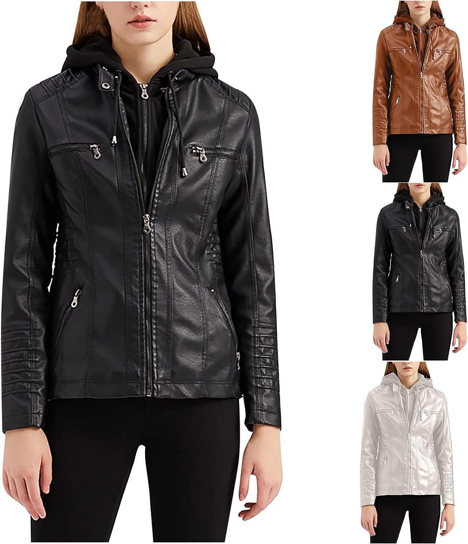 Women's Hooded Faux Leather Moto Biker Jacket Winter Slim Leather Stand Collar Zipper Motorcycle Coat Tops