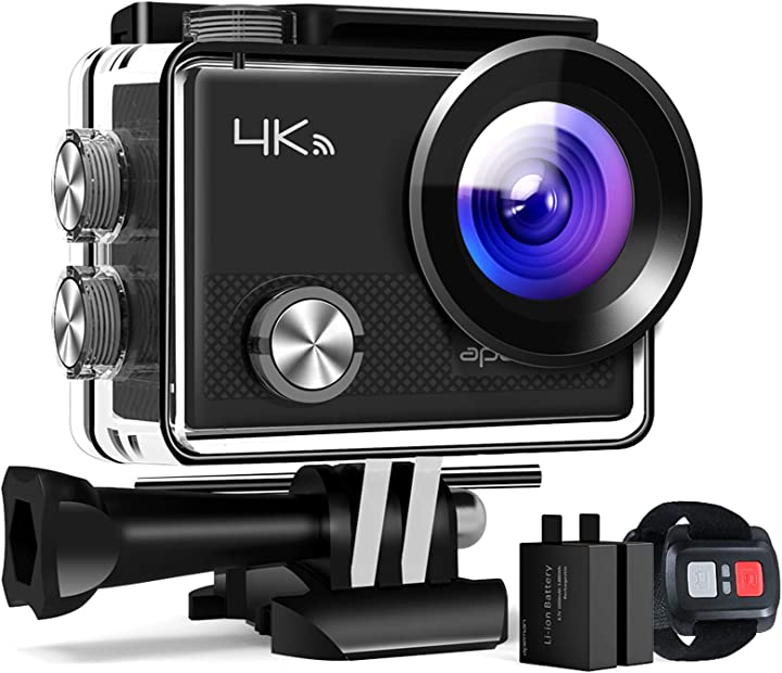 fotocamera subacquea digitale Apeman action cam a77, 4k 20mp wi-fi impermeabile 30m con telecomando