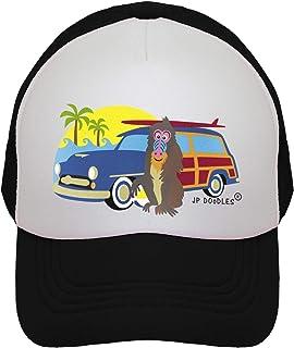 JP DOoDLES Surfer Monkey Hat Kids Trucker Hat. Baseball Mesh Back Cap fits Baby, Toddler and Youth