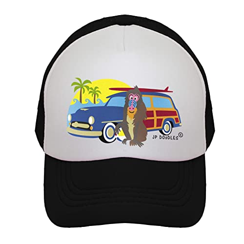 00533d8160a JP DOoDLES Surfer Monkey with Woodie on Kids Trucker Hat. Kids Baseball Cap  is Available