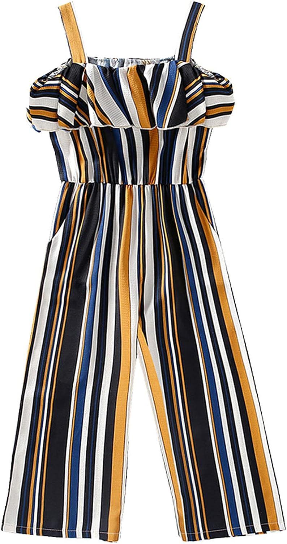 JanJean Popular 70% OFF Outlet brand in the world Toddler Girls Sleeveless Stripe Jumpsuit Wide Pants Leg