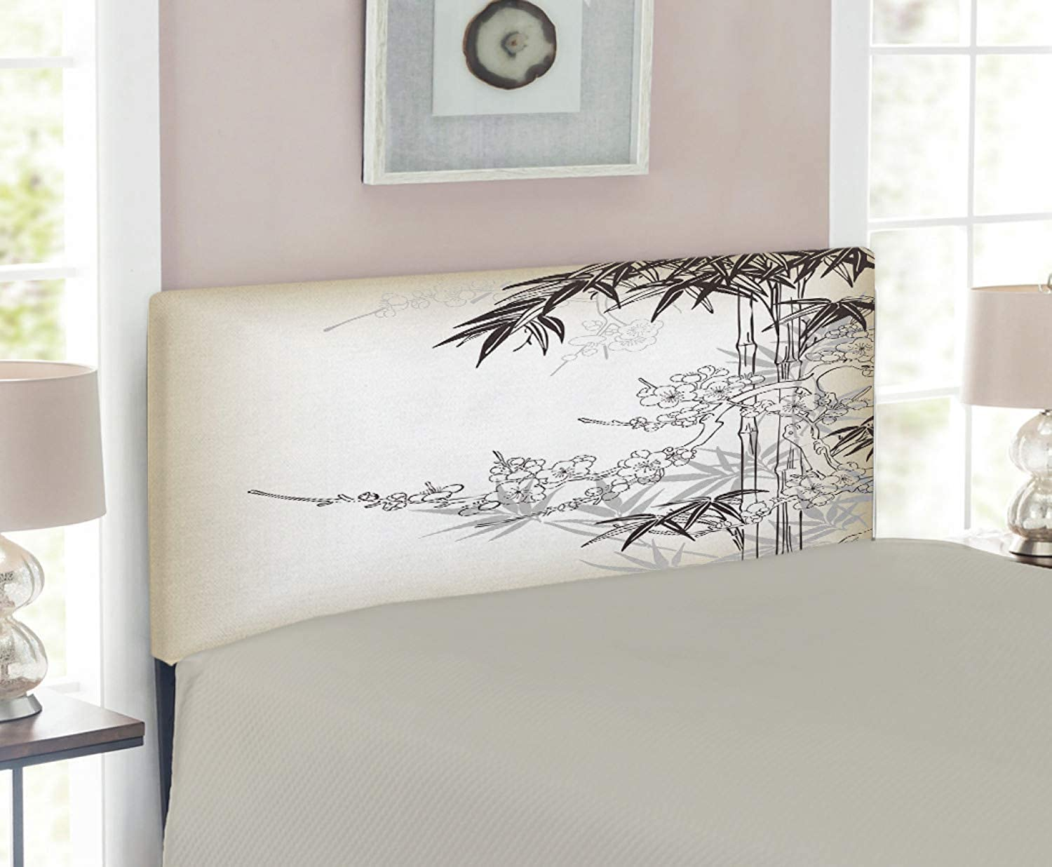 Lunarable Bamboo Tree Headboard for Twin Size Bed, Abstract Tree and Japanese Bamboo Pattern Floral Leaf Design Blossoms Artistic, Upholstered Decorative Metal Headboard with Memory Foam, Tan Brown