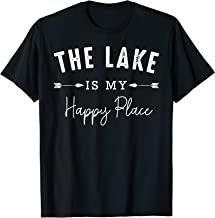 The Lake Is My Happy Place Camping Fishing Boating Nature T-Shirt