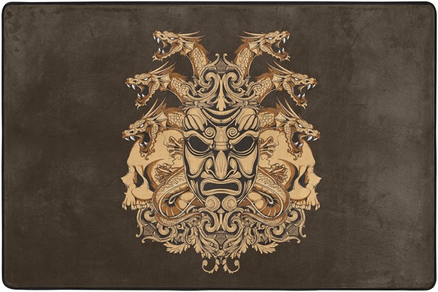 SAVSV Decorative Lightweight Printed Fierce Dragon Skeleton Skull Design Morden Area Rug Carpet Doormat for Hardwood Floors Living Room Bedroom Water-Repellent Non-Slip Soft 6'X 4'& 3'X 2'