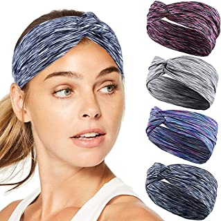 Lorfancy Workout Headbands for Women Men 4Pcs Sports Athletic Yoga Heandbands Wide Wrap Sweatband Absorbing Moisture for Running Fitness Basketball Dancing