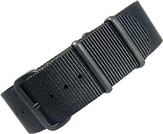 time+ 22mm NATO G10 Premium Ballistic Nylon Military Watch Strap All Black PVD