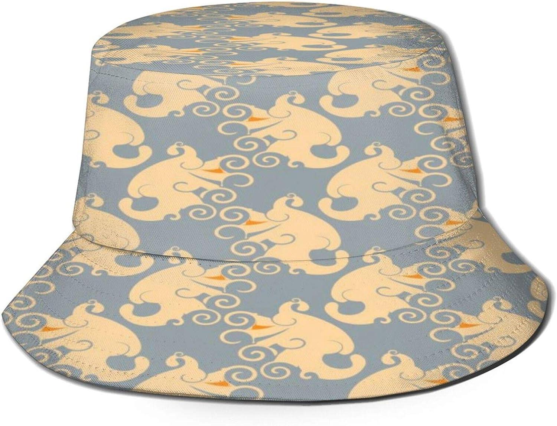 Paisley Yellow Wings Pattern Bucket Hat Unisex Sun Hat Summer Packable Fisherman Hats Black