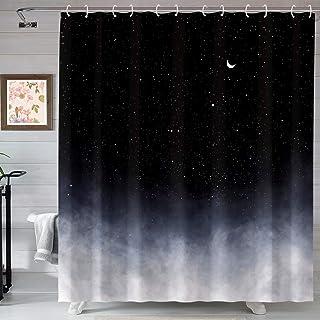 پرده دوش سیاه Neasow ، پرده حمام ستاره ها و ماه جدید حمام شب پرده آسمان پرده شب
