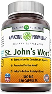 Amazing Nutrition St. Johns Wort - 300mg of 100% Pure St. John's Wort (Hypericum Perforatum) Extract in Every Capsules * Standardized to Contain 0.3% Hypericin - 180 Capsules Per Bottle