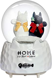 Nice Pies Cartoon Black White cat Bow Snow Globe Music Box with Colorful Lights Automatic Snowflake Top Decoration Children's Student 100mm Water Globe