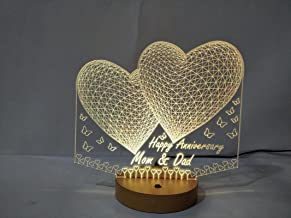 DESIGNELLE Personalised 3D Illusion Acrylic Single Colour LED Lamp, 8-10 Inches, Wooden