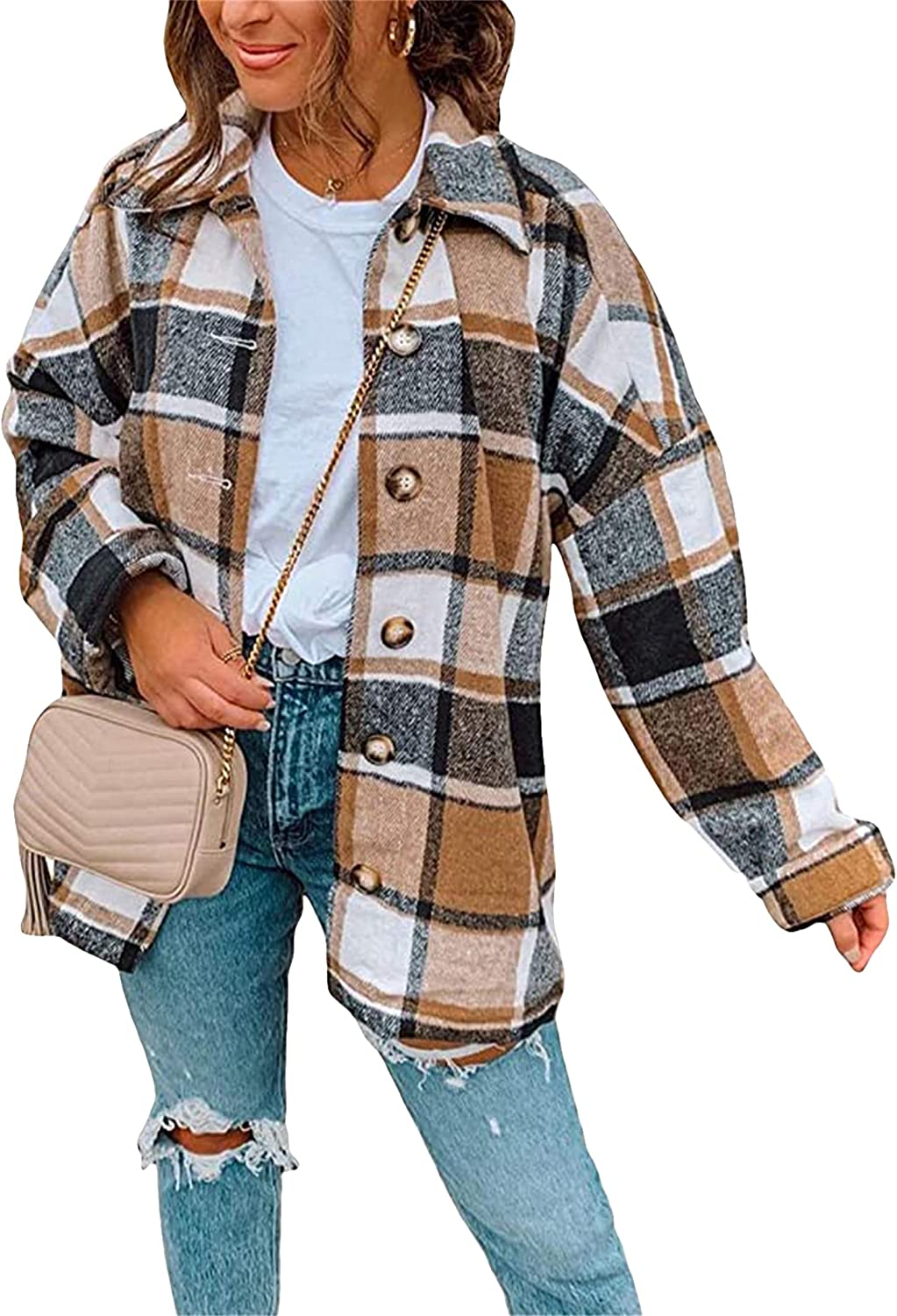 YMING Womens Casual Color Block Plaid Shirt Lapel Button Down Cardigan Long Sleeve Flannel Blouse Tops